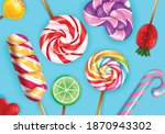 lollipop candies closeup...   Shutterstock .eps vector #1870943302