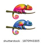 Two Bright Colorful Chameleon...