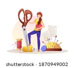 woman with scissors. patterns ... | Shutterstock .eps vector #1870949002