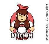 chef woman and dish cover logo... | Shutterstock .eps vector #1870971595