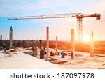 tower crane at construction... | Shutterstock . vector #187097978