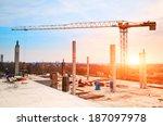 tower crane at construction... | Shutterstock . vector #187097978