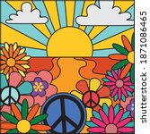 70's groovy retro sunshine and... | Shutterstock .eps vector #1871086465