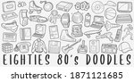 eighties  doodle icon set. 80...   Shutterstock .eps vector #1871121685