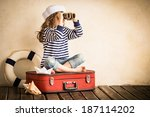 happy kid playing with toy... | Shutterstock . vector #187114202