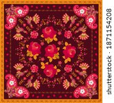 Bright  Shawl With Roosters In...