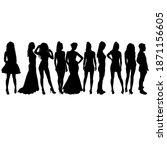 set beautiful fashion girl... | Shutterstock . vector #1871156605
