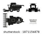 black silhouette of combine... | Shutterstock . vector #1871156878