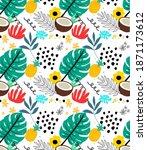 tropical pattern design for t...   Shutterstock . vector #1871173612