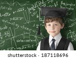boy near blackboard with... | Shutterstock . vector #187118696