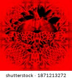 Red Background Snake Texture...