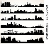 abstract industrial skyline set.... | Shutterstock .eps vector #187129925