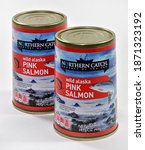 Small photo of Willard, Missouri - December 10, 2020: Canned Salmon. Northern Catch brand canned salmon sold exclusively by Aldi. Product of USA. Editorial.
