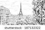 street in paris   sketch ... | Shutterstock . vector #187132322