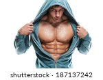 strong athletic man fitness... | Shutterstock . vector #187137242
