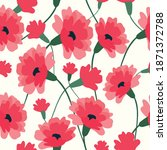 Red Carnation Flowers Seamless...