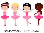 Little beautiful ballerina girls isolated on white ( pink )