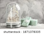 beautiful christmas snow globe... | Shutterstock . vector #1871378335