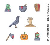 set of silhouettes of halloween ... | Shutterstock .eps vector #1871406112