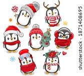 Set Of Cute Cartoon Christmas...