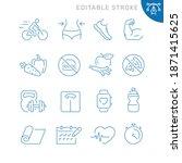 fitness related icons. editable ...   Shutterstock .eps vector #1871415625