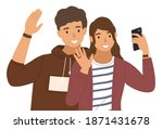 young boy is waving his hand.... | Shutterstock .eps vector #1871431678