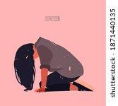 the sad girl is on her knees ...   Shutterstock .eps vector #1871440135