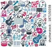 set of musical elements  vector ...