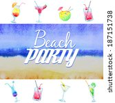 beach party flyer. watercolor... | Shutterstock .eps vector #187151738