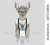 illustration of deer dressed up ... | Shutterstock .eps vector #187152806
