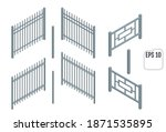 isometric metal fence sections. ... | Shutterstock .eps vector #1871535895
