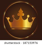 golden crown on dark brown... | Shutterstock .eps vector #187153976