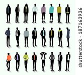 set of trendy male silhouettes... | Shutterstock .eps vector #187163936