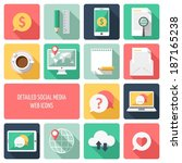 social media web icons vector | Shutterstock .eps vector #187165238