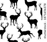 seamless pattern reindeer...   Shutterstock .eps vector #1871656378