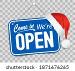 blue sign come in we are open... | Shutterstock .eps vector #1871676265