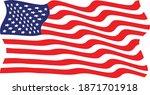 usa flag . american wavy flag . ... | Shutterstock .eps vector #1871701918