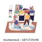 happy children clean up...   Shutterstock .eps vector #1871725198