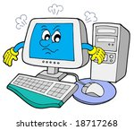 angry computer on white... | Shutterstock .eps vector #18717268