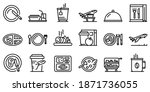 Airline Food Icons Set. Outline ...