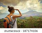 woman traveler looking at batur ... | Shutterstock . vector #187174106