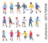 children rollerblading icons... | Shutterstock .eps vector #1871758948