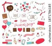 valentine's day hand drawn line ... | Shutterstock .eps vector #1871786185