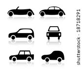 set of 6 car icon variations | Shutterstock .eps vector #18718291