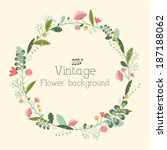retro flower background concept.... | Shutterstock .eps vector #187188062