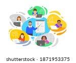 virtual class online school...   Shutterstock .eps vector #1871953375