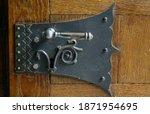 Forged Door Lock On Oak Door ...
