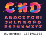 alphabet with vibrant wave... | Shutterstock .eps vector #1871961988