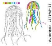 ornate stylized jellyfish for...   Shutterstock .eps vector #1871969485