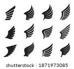 a set of black wings. vector... | Shutterstock .eps vector #1871973085
